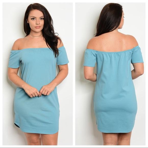 Dresses Plus Size Off The Shoulder Mini Dress Teal Dress Poshmark